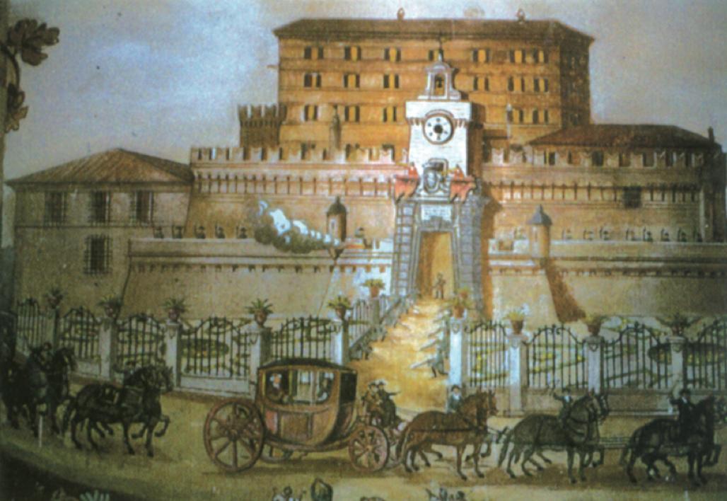 Rocca Priora, affresco del secolo XVIII di una sala interna.