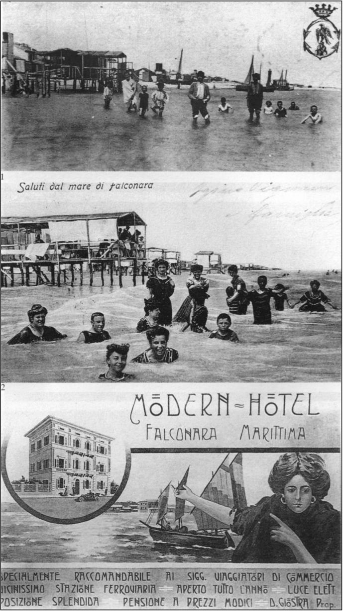 Cartoline dei Bagni di Falconara, 1910 circa.