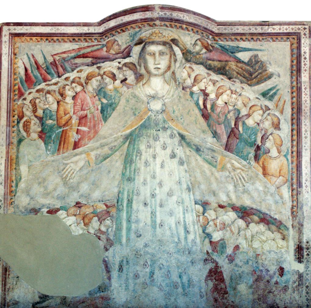 La Madonna della Misericordia, affresco del secolo XIV.